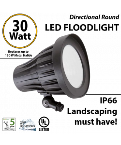 30W Landscaping Directional Round Flood Light 5000K IP66 UL