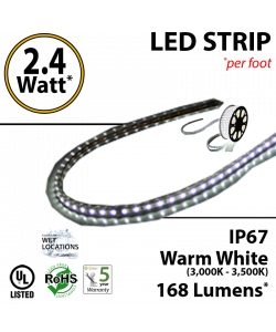 2.4W p/feet LED STRIP per foot Warm white  (3,000K-3,500K) 70 Lumens p/watt