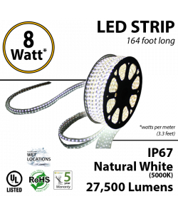 8W p/meter (2.4W p/feet) LED STRIP 50 Meters (164 ft) Natural White 5000K 70 Lumens p/watt