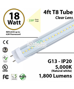 18W LED Tube-1 Sd-4ft-PC 5000K 1800 Lm Non-Dimmable Clear
