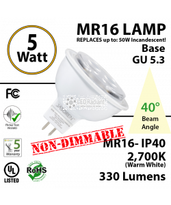 5W LED MR16 Lamp Base GU 5.3 Non-Dimmable 2700K 330 Lumens