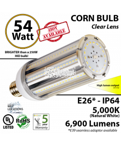 LED Corn Bulb Lamp 5000K 54 Watt 6900Lm E26* IP64 UL