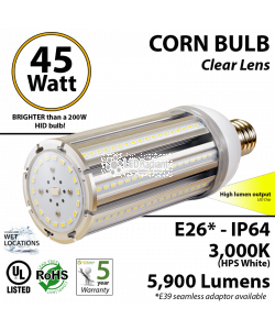 45W LED Corn Bulb Lamp 5900Lm 3000K IP64 E26* UL.