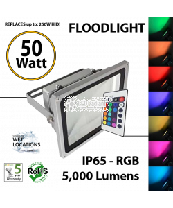 50W LED Floodlight 5000Lm  RGB remote Control  IP65.