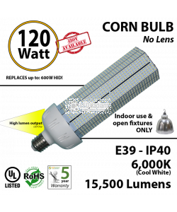 120W LED Bulb Lamp 15500Lm 6000K IP40 E39 UL