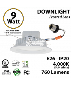 9w LED downlight 100 Watt incandescent replacement 4000K