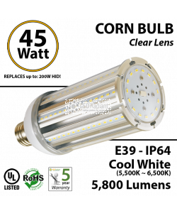 45W, LED Corn Bulb Lamp, 5800Lm, 6000K, IP64, E39*, UL.