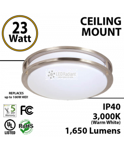23 Watts LED Ceiling Mount Fixture Satin Nickel 14 inches