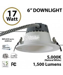 17W LED 6 inch Downlight Architectural Trim 1500 Lm Dimmable 5000K