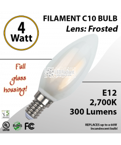 4W LED Filament Bulb 2700K C10 Vintage Frosted 300 Lm E12 not dimmable