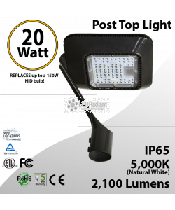 20W LED Landscaping Top of Post Light 2100 Lm 5000K