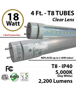 18W 4ft LED T8 Tube, 2200Lm, 5000K Clear IP40 UL 2 end power