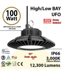 450 Watt Equivalent LED UFO 100w 3000K 12300Lm 110 volts