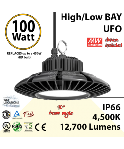 450 Watt Equivalent LED UFO 100w 4500K 12700Lm 110 volts