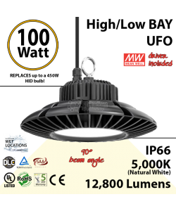 450 Watt Equivalent LED UFO 100w 5000K 12800Lm 110 volts