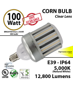 100W LED Corn Bulb Lamp 12800Lm 5000K IP64 E39