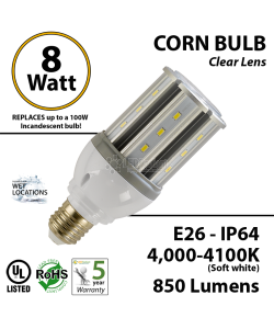 LED Corn Bulb Lamp 4000-4100K 8W 850Lm IP64 E26 UL
