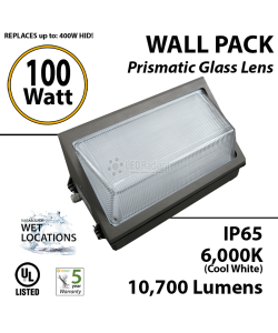 100W LED Wall Pack Fixture: 10700Lm 5700K IP65 UL