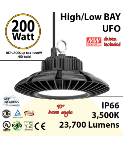 900 Watt hid Replacement for this 200W LED UFO light 3500K 110Volts
