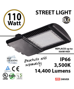 110w LED Street pole lamp Fixture 500 Watt HID Equivalent 120V 3500K