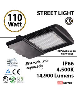110w LED Street pole lamp Fixture 500 Watt HID Equivalent 120V 4500K