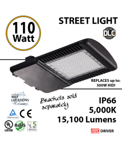110w LED Street pole lamp Fixture 500 Watt HID Equivalent 120V 5000K
