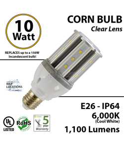 10W LED Corn Bulb Lamp 1100Lm 6000K IP64 E26 UL