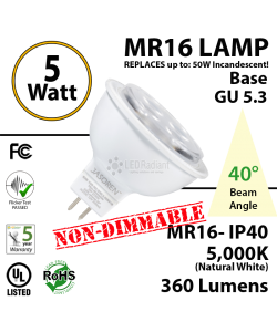 5W LED MR16 Base GU 5.3 Non-Dimmable 40° Beam Angle 5000K 360 Lumens IP40