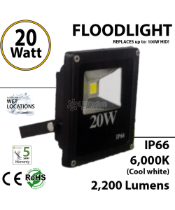 20w LED floodlight Fixture replaces up to 100 Watt HID/Mh Eqivalent