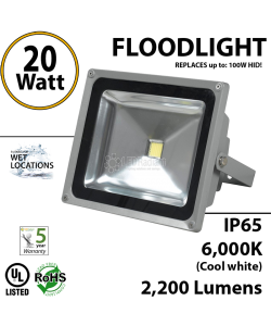 20W LED Floodlight 2200Lm 6000K IP65 UL.