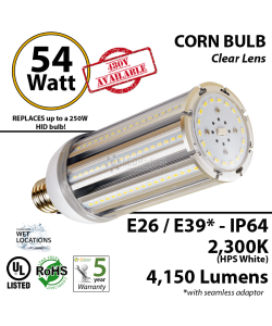 300w Equivalent 54w LED Corn Bulb Lamp 5900Lm 3000K