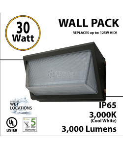 30W LED Wall Pack Fixture: 3000Lm 5500K IP65 UL