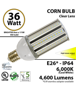 36W LED Corn Bulb Lamp 4600Lm  6000K E26* IP64  UL.