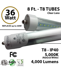 8 Ft. LED T8 Tube light 36W 4000Lm 5000K IP40 Clear Lens ETL