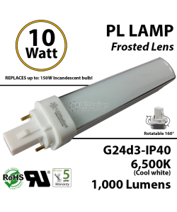 10W PL LED Bulb lamp 1000Lm 6500K G24-d3 IP40 Frosted UL. Direct Line (Remove Ballast)