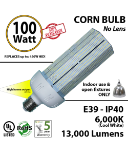100W LED Bulb Lamp 13000Lm 6000K IP40 E39  UL.