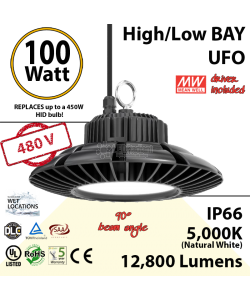 450 Watt Equivalent LED UFO 100w 5000K 12800Lm 480 volts