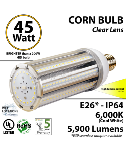 45W LED Corn Bulb Lamp 5900Lm 6000K E26* IP64  UL.
