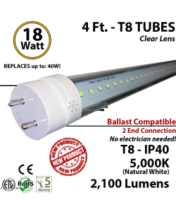 18w 4ft LED Tube Light 2100Lm T8 5000K Clear Lens Ballast Compatible