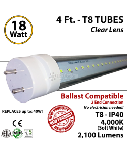 18W 4Ft LED Tube 2100Lm T8, 4000K Clear Lens Plug And Play Ballast Compatible IP40 ETL