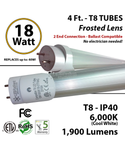 18W 4Ft LED Tube 1900Lm T8 6000K Frosted Plug And Play Ballast Compatible IP40 ETL