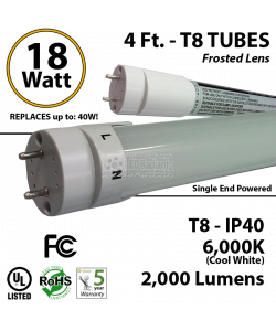 18w 4ft LED T8 Tube Light 2000Lm 5000K Frosted 2 End Power
