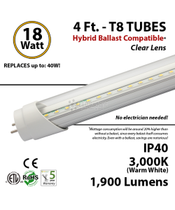 4ft 18w LED Tube Light 1800Lm T8 3000K Clear Lens Ballast Compatible