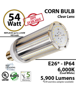 300w Equivalent 54w LED Corn Bulb Lamp 5900Lm 6000K