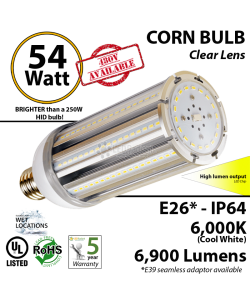 54w LED Corn Bulb 300 Watt HPS HID Replacement 6000K