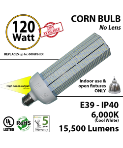 120W LED Bulb Lamp 15,500Lm 6,000K IP40 E39 UL.