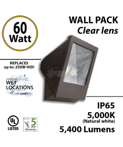 60W LED Wall Pack Fixture: 5400Lm 5000K IP65 UL