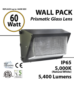 60W LED Wall Pack Fixture: 5400Lm 5000K IP65 ETL