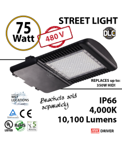 75w LED Street pole lamp Fixture 350 Watt HID Equivalent 480v 4000K