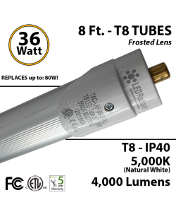 8 ft. 36 Watt T8 LED Tube replace Fluorescent Bulb 4000Lm 5000K
